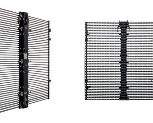 конструкция прозрачного фасадного led экрана