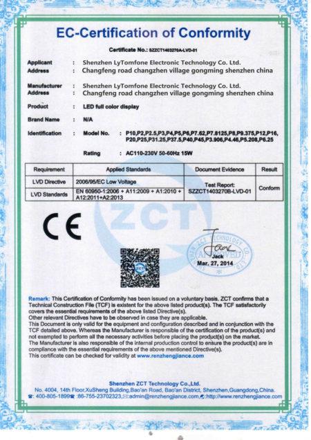 сертификат на led продукцию
