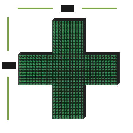 LED аптечный крест монохромный